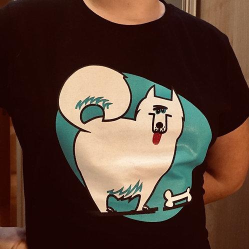 Koszulka damska lub męska, biała lub czarna- Pies z kością