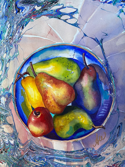 """""""Pears and Bowl"""" -- SOLD Prints Available"""