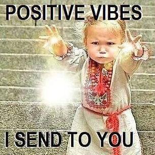 little girl sending out positive vibrations