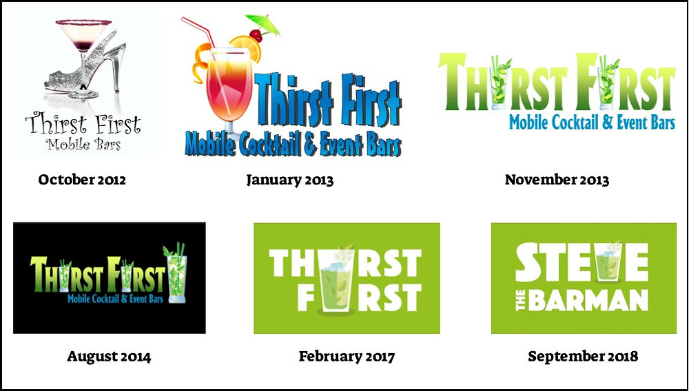 Thirst First & Steve the Barman Logo Evolution