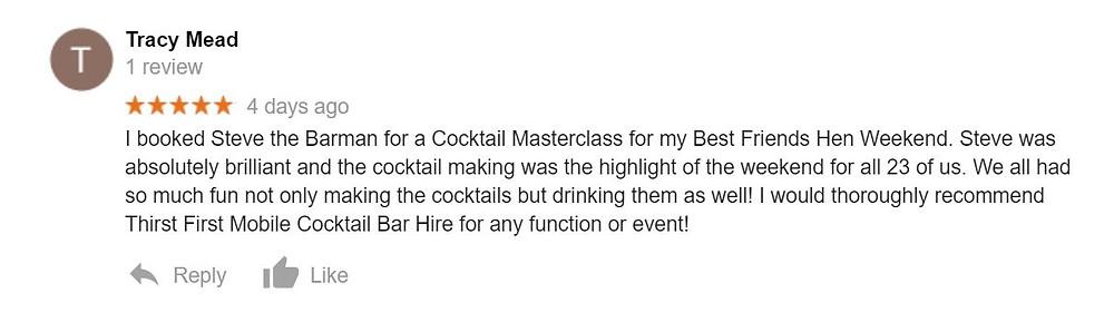 Steve the Barman Testimonial