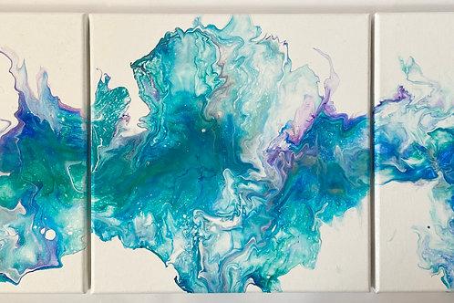 Blue Wavy Triptic 3: 30x30