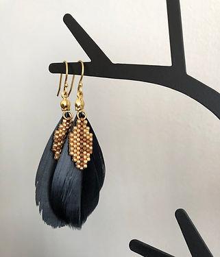 Feather earrings, black-gold earrings, b