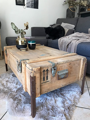 Table basse ancienne caisse transport