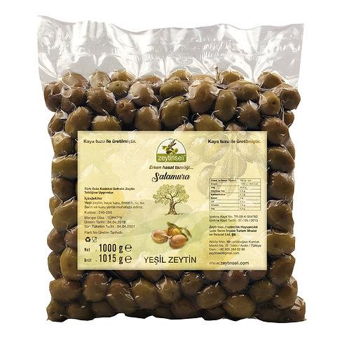 Yeşil Kırma Zeytin, Kaya Tuzlu, 1 kg Vakumlu