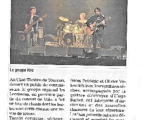 EN CONCERT avec VOLO LE 07 NOVEMBRE 2014 cinéthéâtre TOURNON
