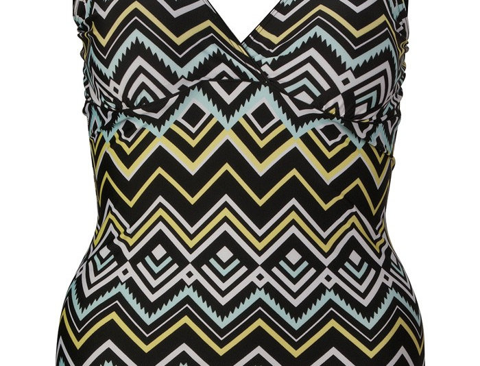 Tribal Pattern Shaping One Piece Swimsuit with Padded Bra, 14-32