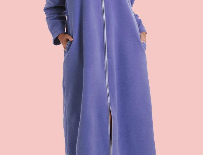Bessi Fleece Zip Front Winter Gown with Pockets (Blue)