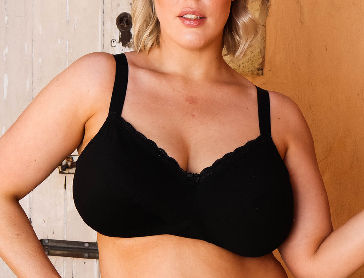 Newfit Bessi Non Wired Comfy Softcup Bra, Blk 18-26