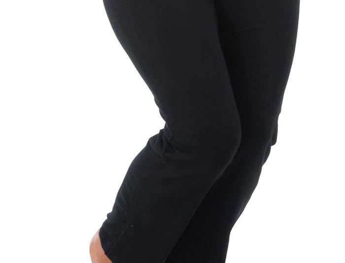 Stretchy Black Leggings Pants, 14-28 (Purple, Black)
