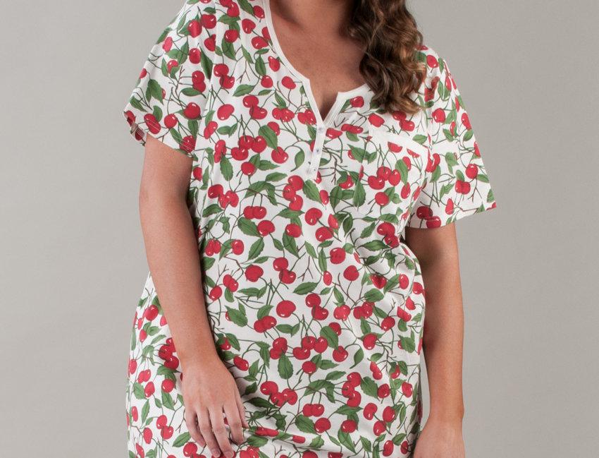 Cotton Short Sleeves Nightie 14-32 (Cherry)