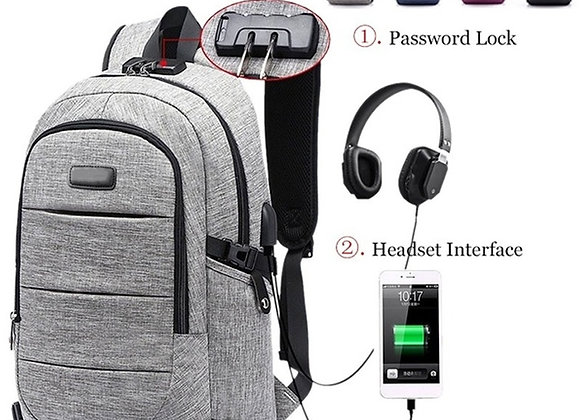 "Laptop Backpack 17.3"" USB Port Waterproof Anti Theft"