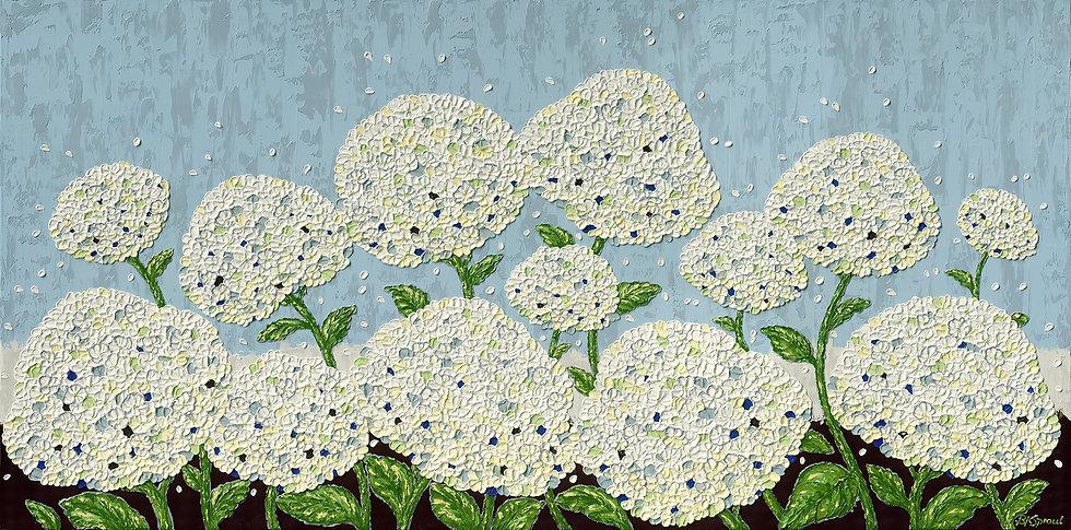 "White Blooms Hydrangeas (60"" x 30"" x 1 1/2"")"