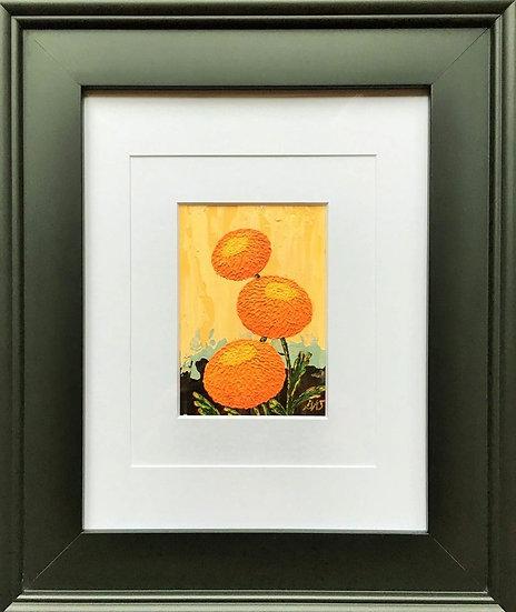 "Chrysanthemums Trio 5"" x 7"" (frame 19"" x 16"")"