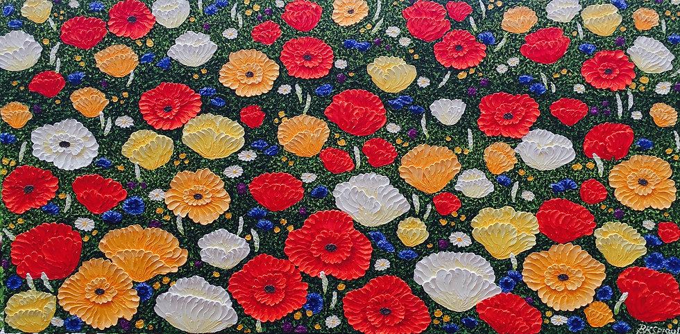 """Field of Poppies (48"""" x 24"""" x 3/4"""")"""