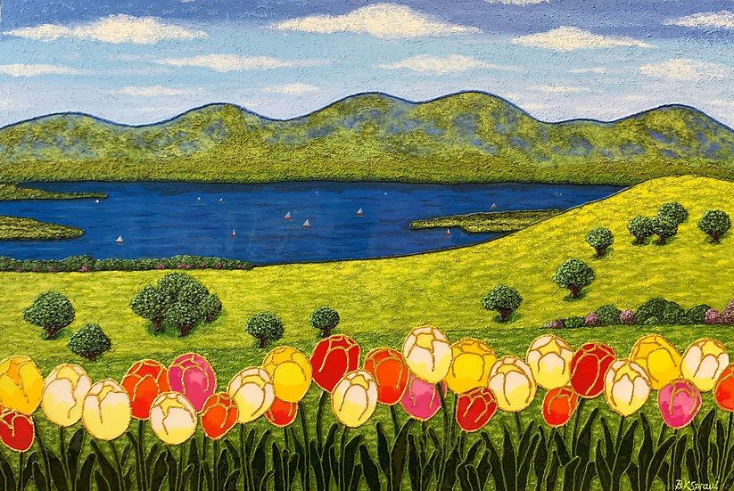 """Spring at the Lake (36"""" x24"""" x 1"""")"""