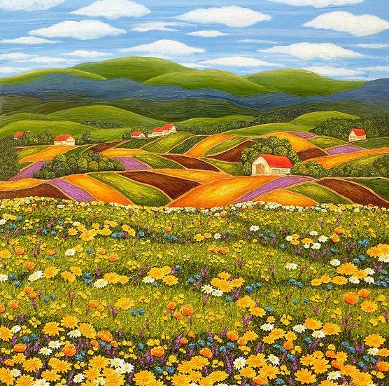 """Meadow in Bloom 36"""" x 36"""""""