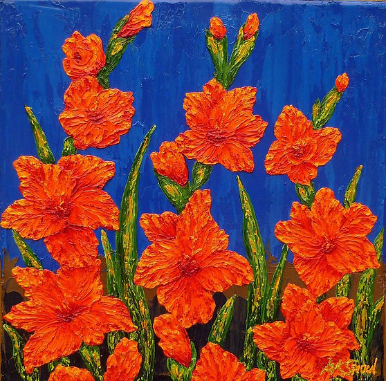 """Two Red Gladiolas 12"""" x 12"""""""