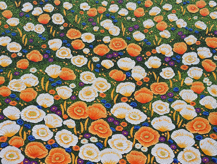 "Poppy Meadow 48"" x 36"" x 3/4"""