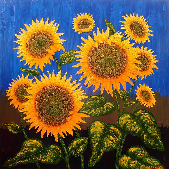 "Sunflowers Blue 36"" x 36"""