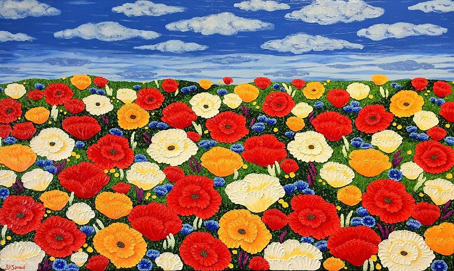"Poppies Horizon (60"" x 36"" x 1 1/2"")"
