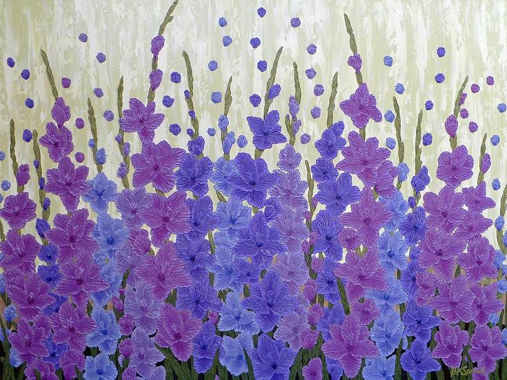 "Purple Gladiolas 48"" x 36"""