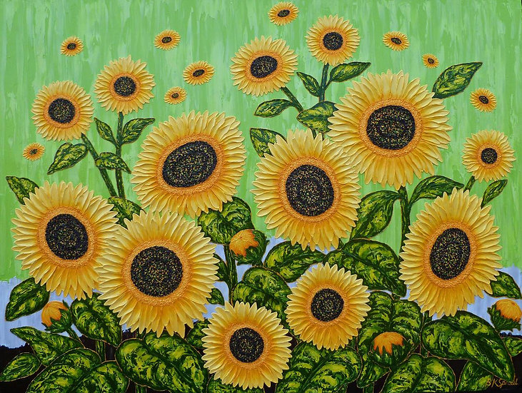 "Sunflowers Green Breeze II 48"" x 36"" x 1 1/2"""