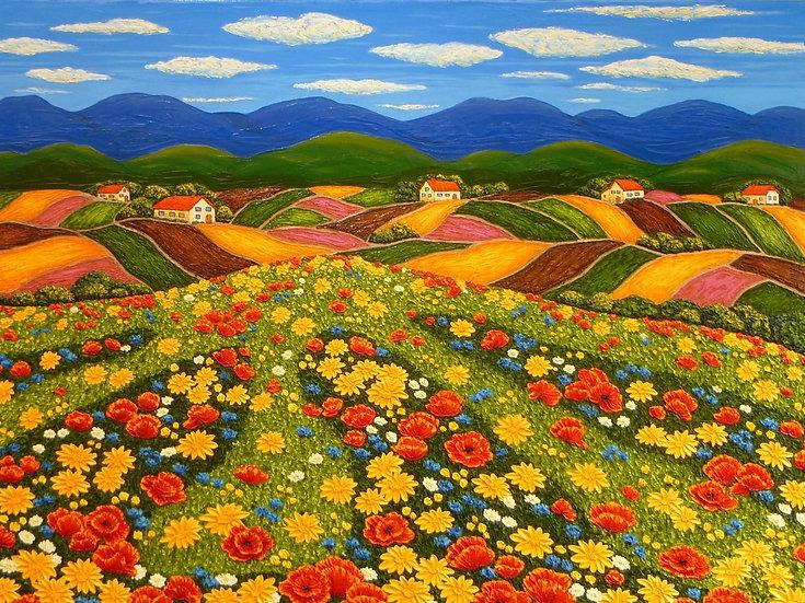 """Poppy Field on Rolling Hills 30"""" x 40"""""""