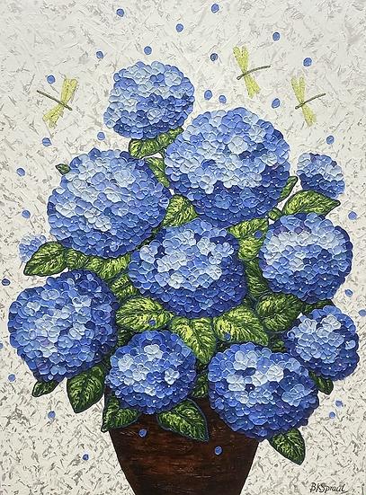 """Hydrangeas in a Vase (48""""x36""""x1.5"""")"""