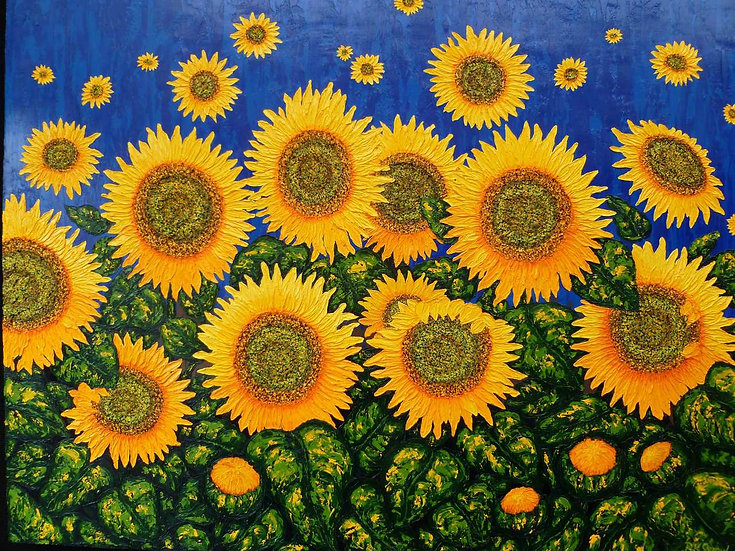 "Sunflowers Blue  48"" x 36"""