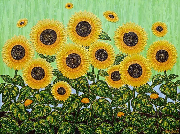 "Sunflowers Green Breeze I  48"" x 36"" x 1 1/2"""