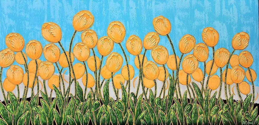 "Yellow Tulips (48"" x 24"" x 1 1/2"")"