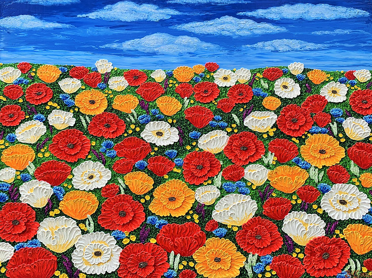 "Blue Sky Over Poppies. (48"" x 36"" x 1 1/2"")"