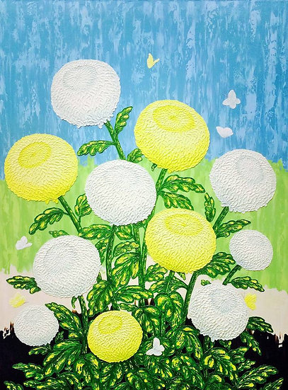 "Chrysanthemums White and Yellow on Light Blue 36"" x 48"""