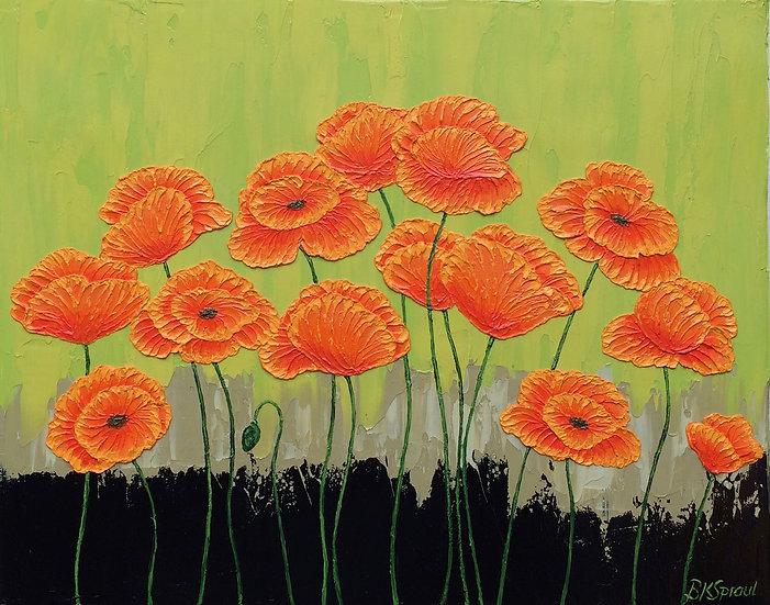 "Orange Poppies on Green 16""x 20""x 3/4"""