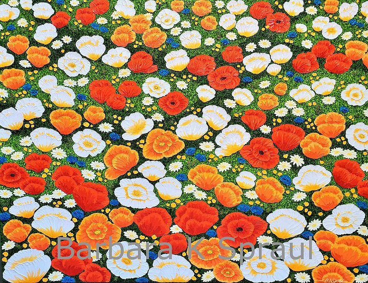 "Poppy Patch I 48"" x 36"" x 3/4"""