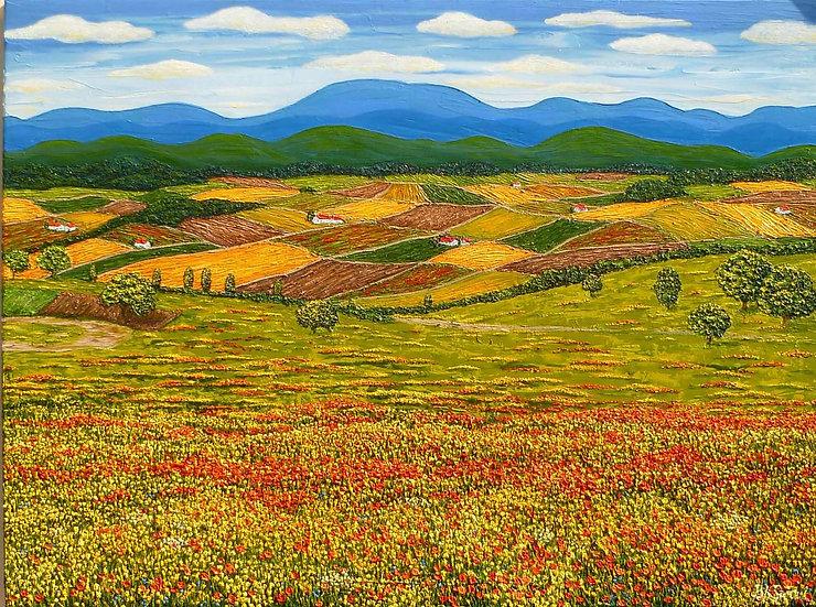 """Poppy Field in Bloom 30"""" x 40"""""""