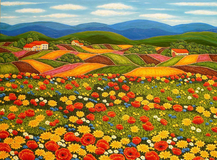 "Poppy Field on Village Edge 30"" x 40"""