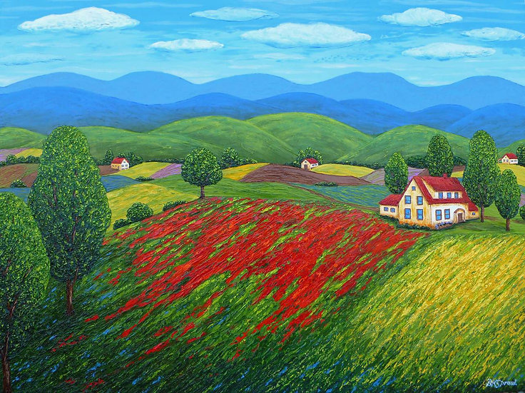 "Red Hill Meadow 40"" x 30"" x 3/4"""