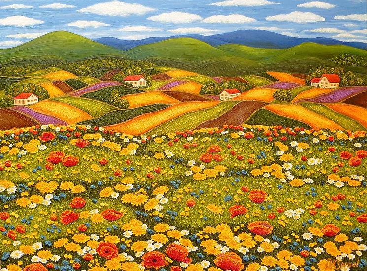 """Wild Flower Field 30"""" x 40"""""""
