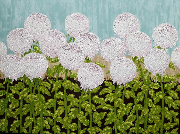 "Chrysanthemums White 60"" x 48"""