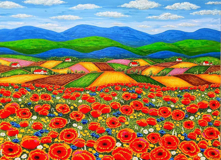 """A day in the country 40"""" x 30"""" x 3/4"""""""