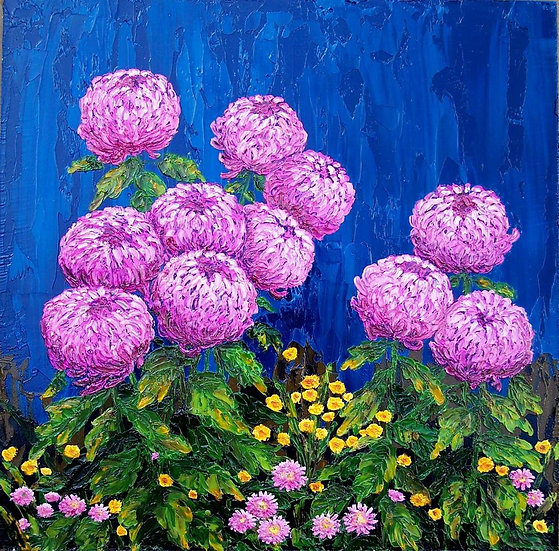 "Chrysanthemums Purple on Blue 12"" x 12"""