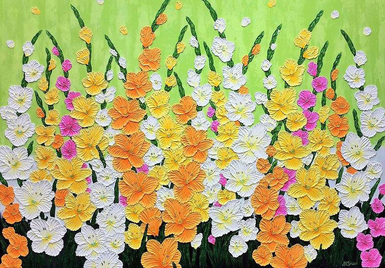 """Rainbow Gladiolas (48"""" x 36"""" X 1 1/2"""")"""