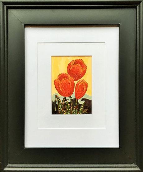 """Tulips Trio 5"""" x 7"""" (frame 19"""" x 16"""")"""