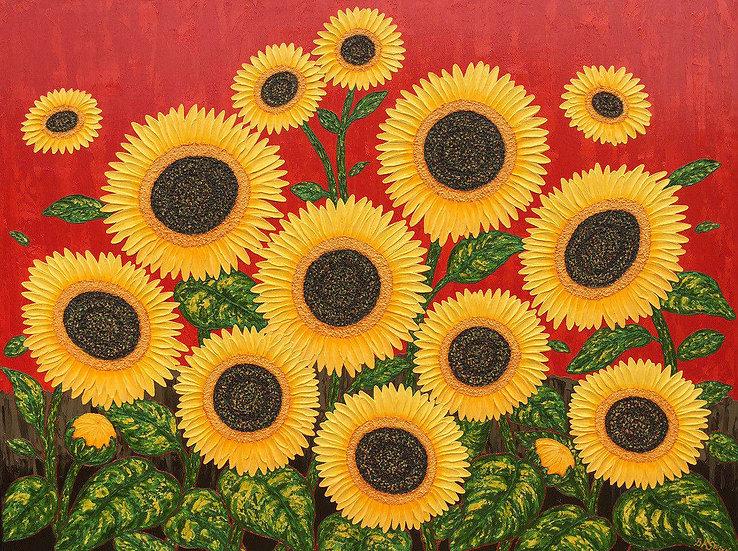 """Sunflower Dance 48"""" x 36"""" x 3/4"""""""