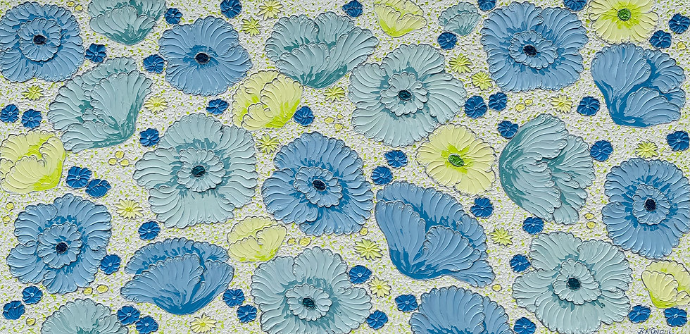 """Poppies in the Sky (48"""" x 24"""" x 1.5"""")"""