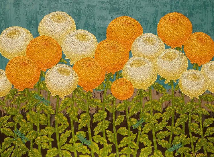"Chrysanthemums Orange and White 48"" x 36"""