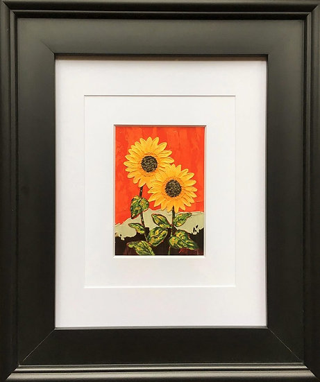 "Sunflowers Duo 5"" x 7"" (frame 19"" x 16"")"