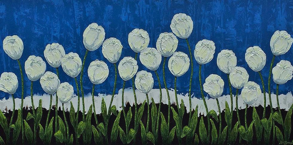 """Blue Tulips 48"""" x 24"""" x 1 1/2"""""""